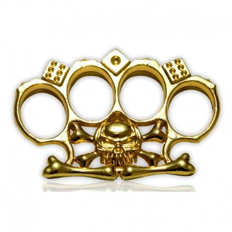 Poing américain paume Tête de mort doré 11 mm d'épaisseur - à partir de 4.50€